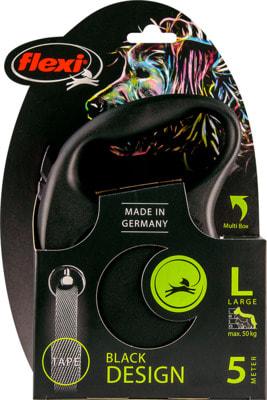 Поводок-рулетка flexi Black Design L, лента 5м, для собак до 50кг (фото, вид 3)