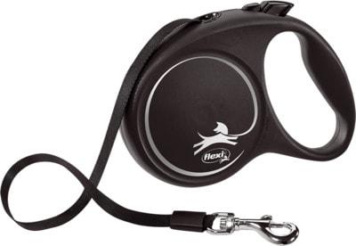 Поводок-рулетка flexi Black Design M, лента 5м, для собак до 25кг (фото, вид 1)