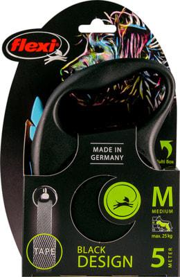 Поводок-рулетка flexi Black Design M, лента 5м, для собак до 25кг (фото, вид 2)