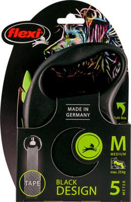 Поводок-рулетка flexi Black Design M, лента 5м, для собак до 25кг (фото, вид 4)