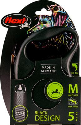 Поводок-рулетка flexi Black Design M, лента 5м, для собак до 25кг (фото, вид 5)