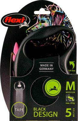 Поводок-рулетка flexi Black Design M, лента 5м, для собак до 25кг (фото, вид 6)