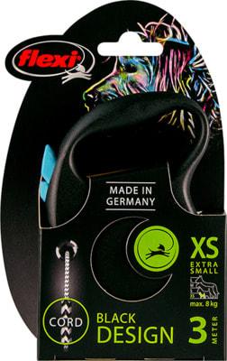 Поводок-рулетка flexi Black Design XS, трос 3м, для собак до 8кг (фото, вид 2)