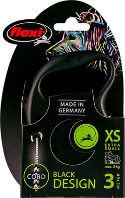 Поводок-рулетка flexi Black Design XS, трос 3м, для собак до 8кг (фото, вид 5)