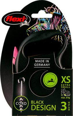 Поводок-рулетка flexi Black Design XS, трос 3м, для собак до 8кг (фото, вид 6)