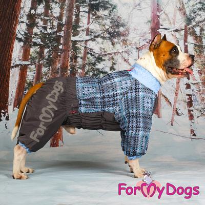 ForMyDogs Теплый комбинезон для больших собак Серо/голубой на мальчика (фото, вид 4)