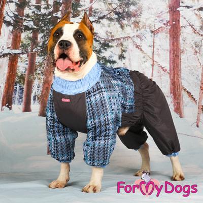 ForMyDogs Теплый комбинезон для больших собак Серо/голубой на мальчика (фото, вид 5)