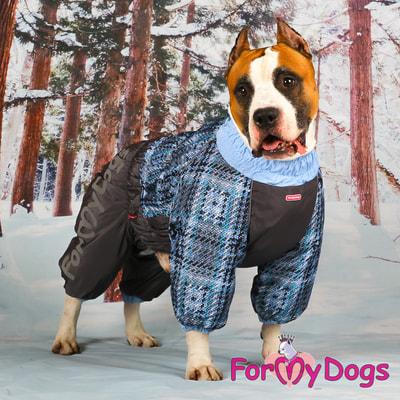 ForMyDogs Теплый комбинезон для больших собак Серо/голубой на мальчика (фото, вид 6)