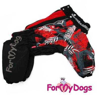 ForMyDogs Теплый комбинезон для больших собак Листья черно/красный на девочку (фото, вид 1)