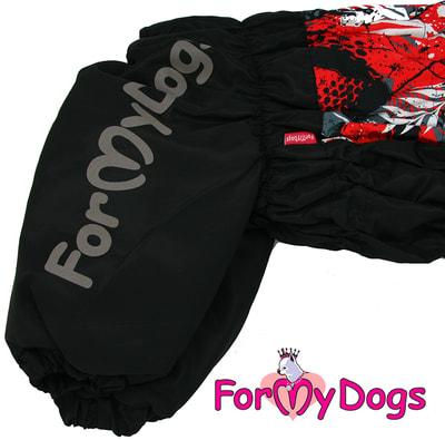 ForMyDogs Теплый комбинезон для больших собак Листья черно/красный на девочку (фото, вид 3)