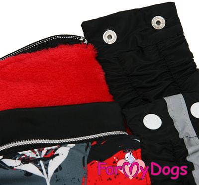 ForMyDogs Теплый комбинезон для больших собак Листья черно/красный на девочку (фото, вид 4)