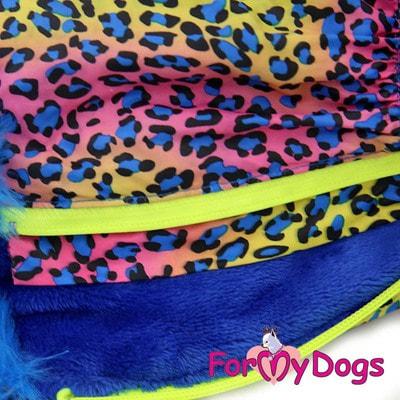 ForMyDogs Теплый комбинезон для такс Синий Леопард на меху для мальчика (фото, вид 2)