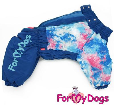ForMyDogs Теплый комбинезон для больших собак Синий на мальчика (фото, вид 1)