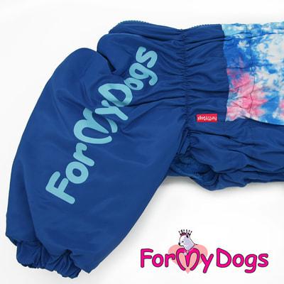 ForMyDogs Теплый комбинезон для больших собак Синий на мальчика (фото, вид 2)