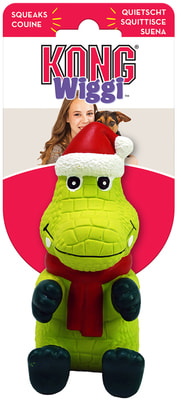 Kong Holiday игрушка для собак Вигги Санта Аллигатор (фото, вид 1)