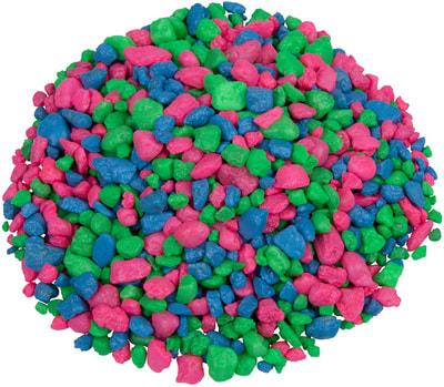 GloFish Гравий Розовый/ зеленый/голубой, с GLO вкраплениями, 2.26кг (фото, вид 1)