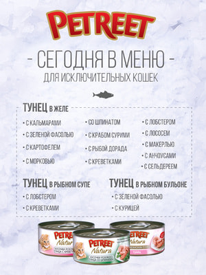 Petreet Консервы для кошек кусочки тихоокеанского тунца с курицей в рыбном бульоне (фото, вид 1)