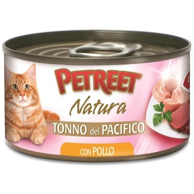 Petreet Консервы для кошек кусочки тихоокеанского тунца с курицей в рыбном бульоне (фото, вид 3)