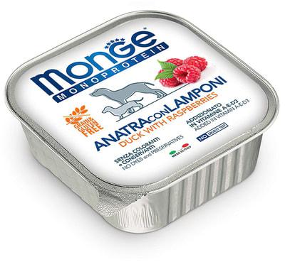 Консервы Monge Dog Monoprotein Fruits для собак паштет из утки с малиной (фото, вид 2)