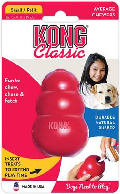 Kong Игрушка для собак Classic из литой резины для лакомств (фото, вид 1)