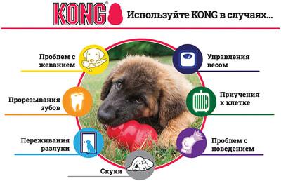 Kong Игрушка для собак Classic из литой резины для лакомств (фото, вид 2)