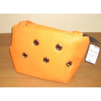 DOGMAN Сумка переноска для собак Лето из кожзама оранжевая (фото, вид 1)