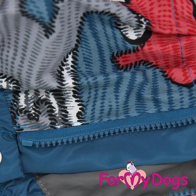 ForMyDogs Дождевик на крупные породы собак Камуфляж синий мальчик (фото, вид 4)