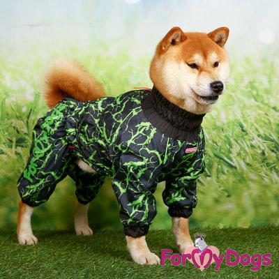ForMyDogs Дождевик на крупные породы собак Молния зеленый мальчик (фото, вид 2)