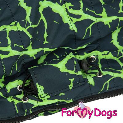 ForMyDogs Дождевик на крупные породы собак Молния зеленый мальчик (фото, вид 4)