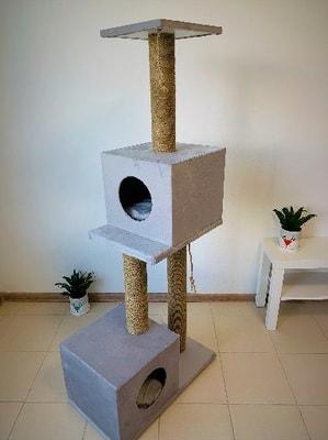 """ZooFit Игровой комплекс для кошек """"High Tech"""" c игрушкой и подушкой серый (фото, вид 1)"""