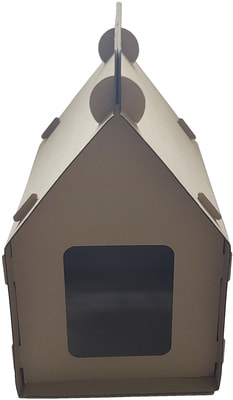 Антицарапки Картонный домик для кошек Теремок (фото, вид 2)