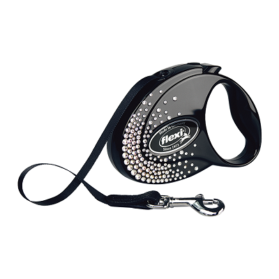 Поводок-рулетка flexi Glam Splash Crystal S, лента 3 метра, для собак до 12 кг