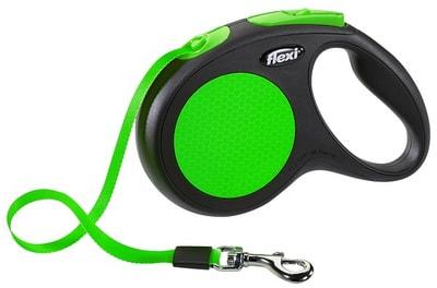 Поводок-рулетка flexi New Neon M (до 25 кг) лента 5 м, зеленый (фото)