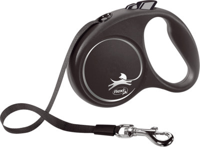 Поводок-рулетка flexi Black Design S, лента 5м, для собак до 15кг (фото)