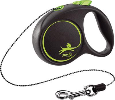 Поводок-рулетка flexi Black Design XS, трос 3м, для собак до 8кг (фото)