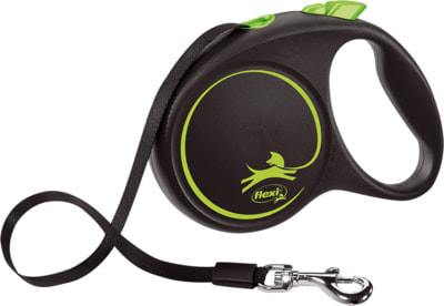 Поводок-рулетка flexi Black Design M, лента 5м, для собак до 25кг (фото)
