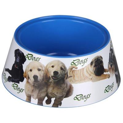 4 My Pets Пластиковая миска для собак Собачки бело-синяя