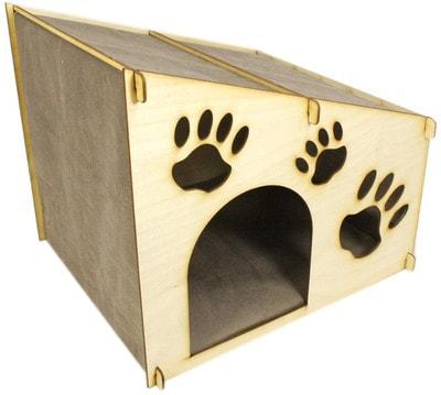 Smartpet Домик для кошек из фанеры со скошенной крышей