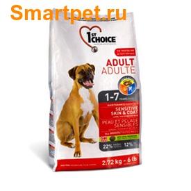 1st Choice Сухой корм для собак с чувствительной кожей и для улучшения здоровья шерсти с ягненком