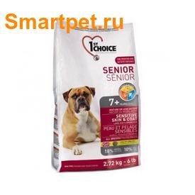 1st Choice Сухой корм для пожилых собак с чувствительной кожей и для шерсти с ягненком