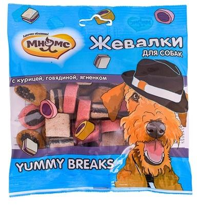 Мнямс Лакомство для собак Жевалки YUMMY BREAKS с курицей, говядиной и ягненком (фото)