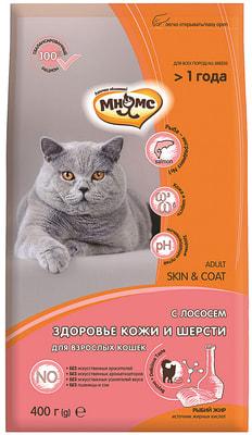 Сухой корм Мнямс Skin&Coat с лососем для взрослых кошек для кожи и шерсти (фото)