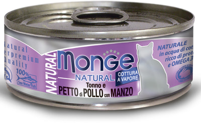 Monge Cat Natural консервы для кошек тунец с курицей и говядиной