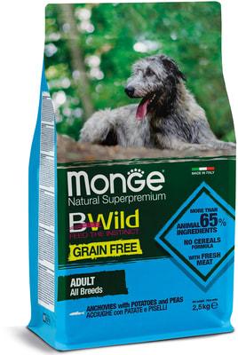 Monge Dog BWild GRAIN FREE беззерновой корм для собак всех пород анчоусы c картофелем и горохом (фото)