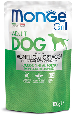 Monge Dog Grill Pouch паучи для собак ягненок с овощами (фото)