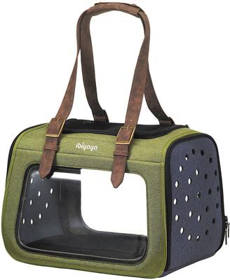 Ibiyaya Складная сумка-переноска для собак и кошек до 6 кг прозрачная/зеленая (фото)