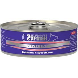 Четвероногий Гурман Silver консервы для собак Говядина с креветками в желе