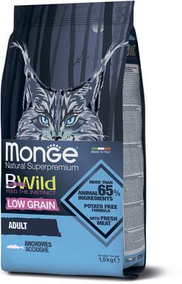 Сухой корм Monge Bwild Cat Anchovies корм для взрослых кошек с анчоусам (фото)