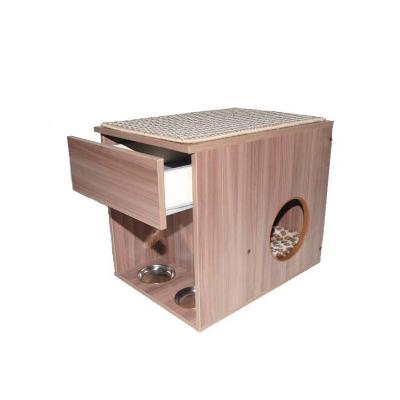 Homecat Многофункциональный комплекс для кошки с двумя мисками и выдвижным ящиком 50х60х43 см