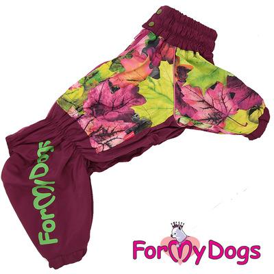 ForMyDogs Дождевик для крупных собак Листья бордовый для девочек (фото)